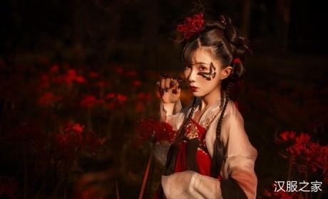 妖艳的彼岸花和红艳的齐胸襦裙结合,汉服美女摄影图