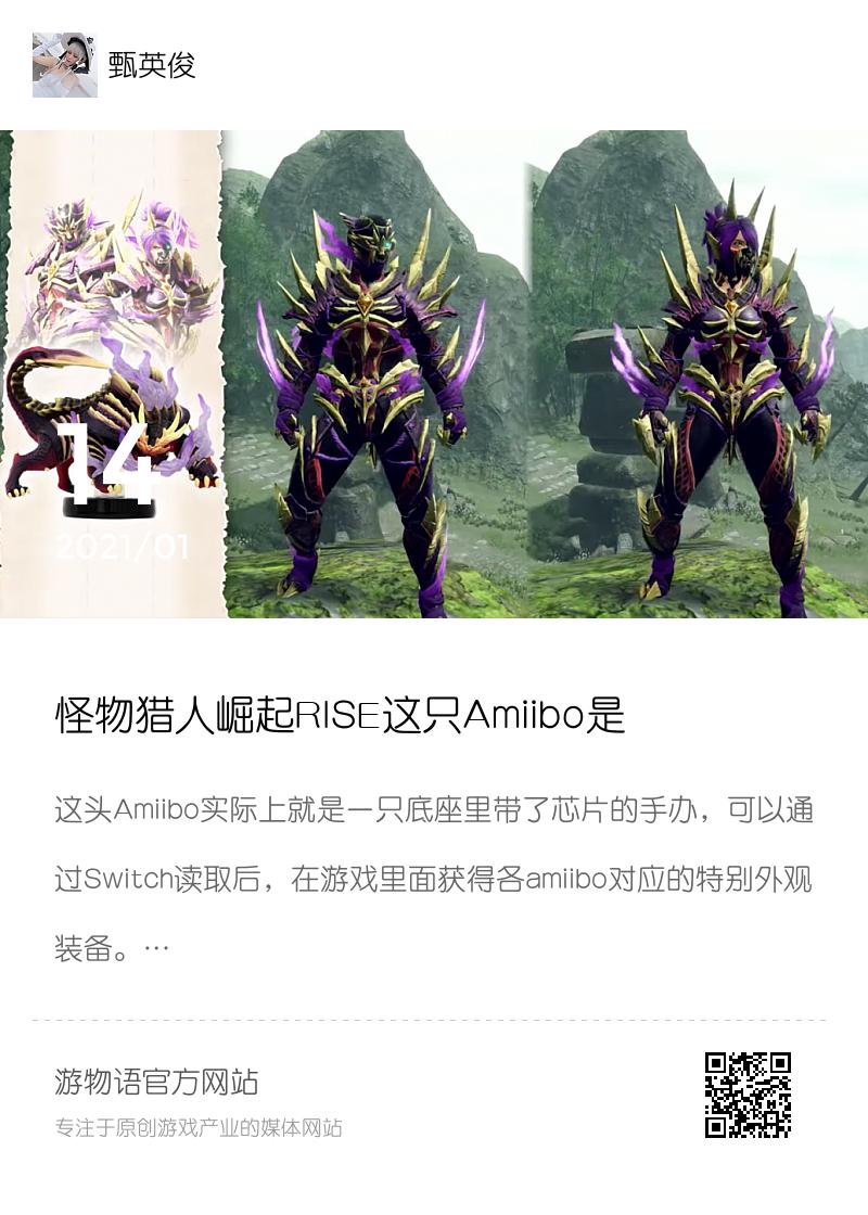 怪物猎人崛起RISE这只Amiibo是用来干啥的?分享封面